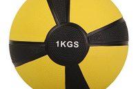 Balón medicinal deportivo 1 kg, 2 kg, 3 kg, 4 kg, 5 kg, 6 kg, 7 kg, 8 kg, 9 kg, 10 kg - Concebido para la práctica del cross training, el calentamiento de los deportistas, el refuerzo muscular o la rehabilitación (Amarillo, 1 KG)