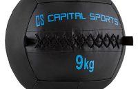 Capital Sports Wallba 9 Balón medicinal de cuero sintético (peso 9 kg, forro exterior, costuras resistententes, superficie manejable, esfera ejercicios gimnasia, pelota agarre adecuado para entrenamiento funcional, azul oscuro)