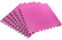 Esterilla protectora para suelo »PuzzleUp« / esterilla para deportes, entrenamiento, ejercicios, esterilla para yoga / Protección para suelo perfecta consistente de 6 elementos de encaje de 60 x 60 x 1,2 cm (aprox. 2,2 m²) / rosa