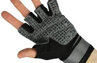 COM-FOUR fitness-Sport-guantes para entrenamiento de fuerza y musculación con muñequera envolvente (negro/gris de malla, color  - Schwarz, Grau, tamaño extra-large