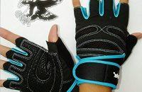 1par Guantes de Entrenamiento Ejercico de Pesos Deporte Gimnasio Medio Dedos (negro + azul, M)